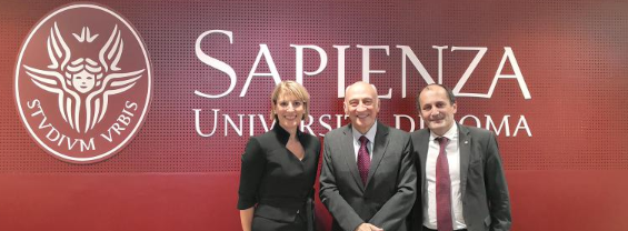 Jill Morris CMG together with the Chairman of our Masters Degree in Cybersecurity, Prof. Luigi Vincenzo Mancini, and the Director of the Dipartimento di Informatica, Prof. Alessandro Mei